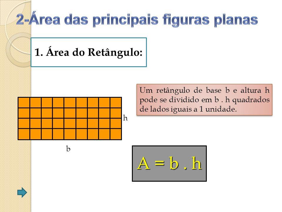1.Área do Retângulo: b h Um retângulo de base b e altura h pode se dividido em b.