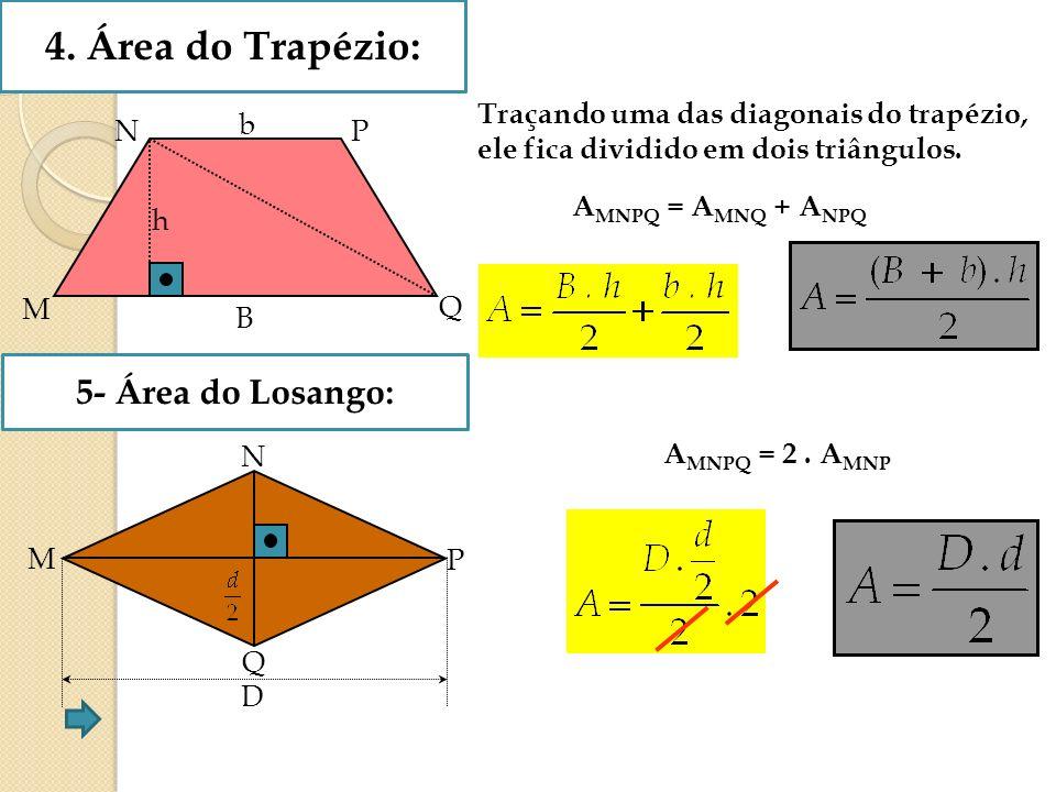4. Área do Trapézio: b B M Q h NP Traçando uma das diagonais do trapézio, ele fica dividido em dois triângulos. A MNPQ = A MNQ + A NPQ 5- Área do Losa