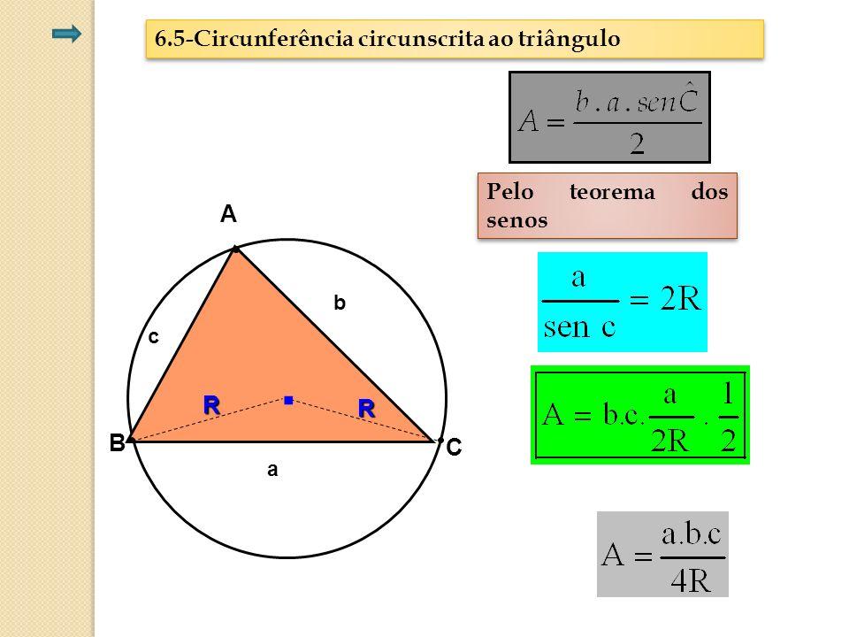 6.5-Circunferência circunscrita ao triângulo Pelo teorema dos senos C A B R R. b a c