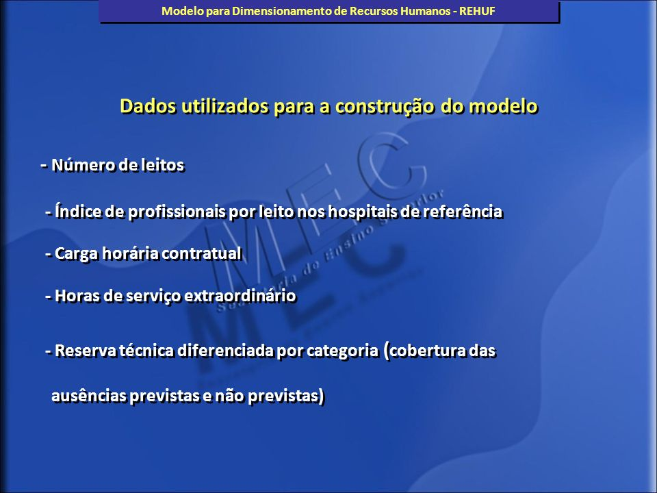 Etapa I – Escolha dos hospitais utilizados como referência : - Hospitais Gerais Hospital de Clínicas de Porto Alegre - Maternidades Maternidade Escola da UFRJ (ME-UFRJ) Etapa I – Escolha dos hospitais utilizados como referência : - Hospitais Gerais Hospital de Clínicas de Porto Alegre - Maternidades Maternidade Escola da UFRJ (ME-UFRJ) Modelo para Dimensionamento de Recursos Humanos - REHUF