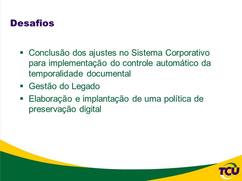 Desafios Conclusão dos ajustes no Sistema Corporativo para implementação do controle automático da temporalidade documental Gestão do Legado Elaboraçã