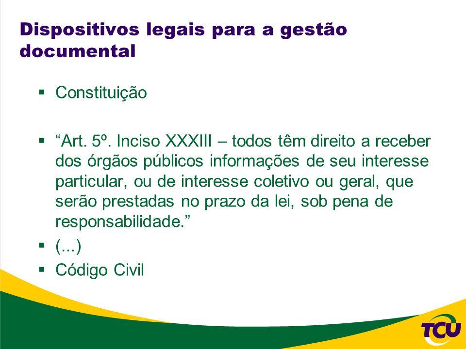 Dispositivos legais para a gestão documental Constituição Art. 5º. Inciso XXXIII – todos têm direito a receber dos órgãos públicos informações de seu