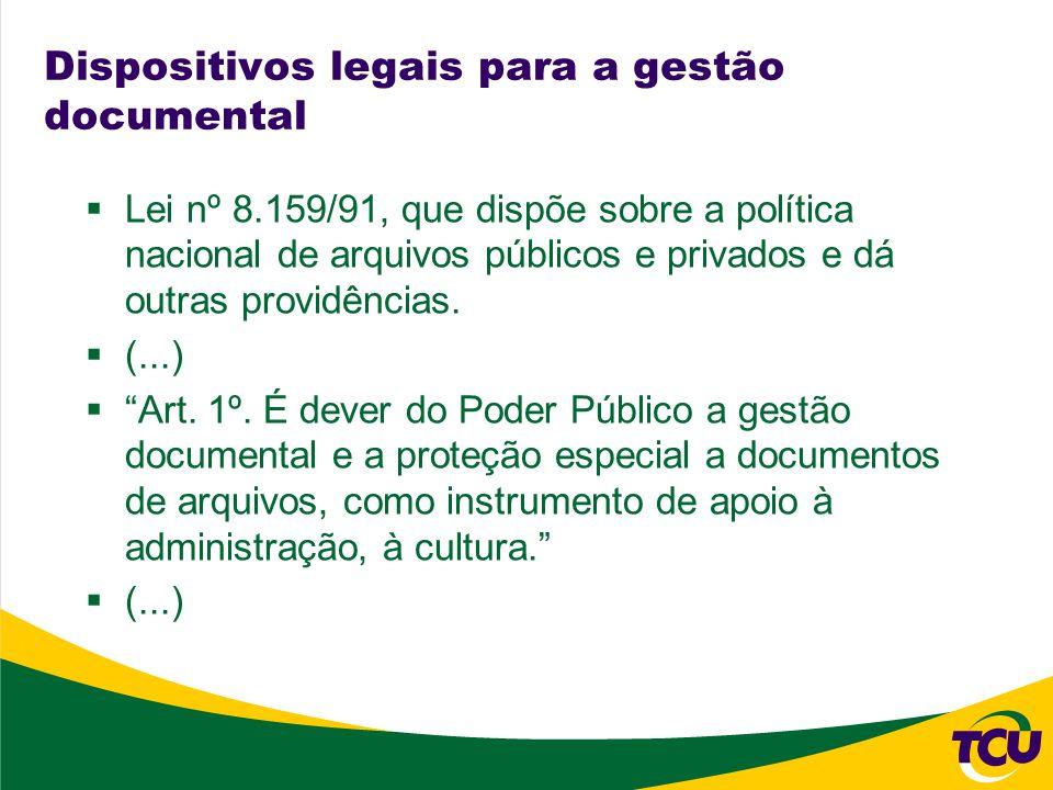 Dispositivos legais para a gestão documental Lei nº 8.159/91, que dispõe sobre a política nacional de arquivos públicos e privados e dá outras providê