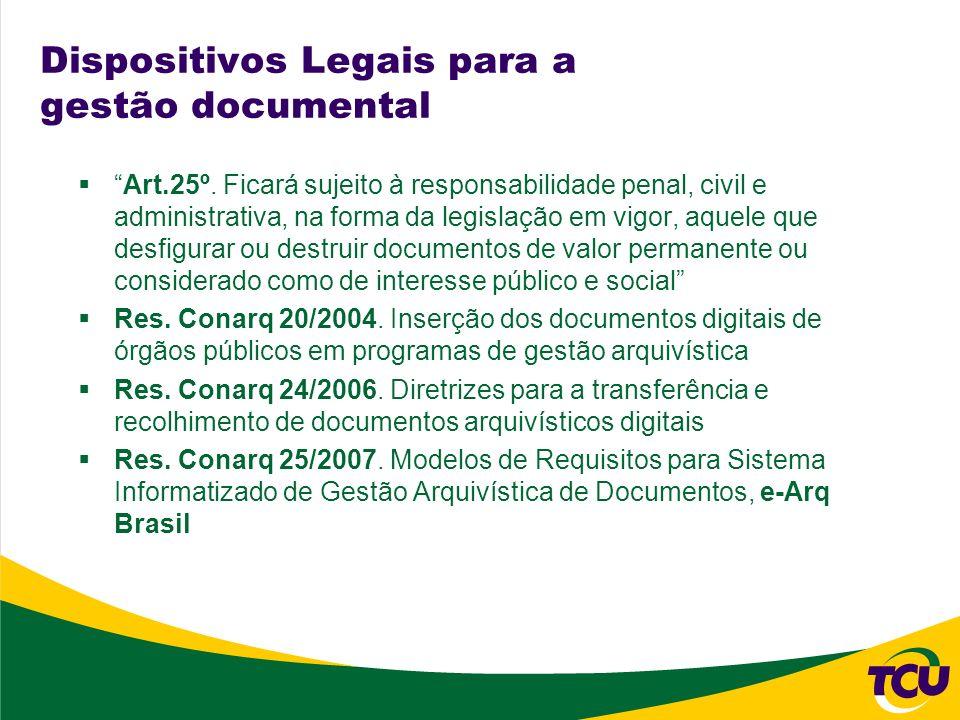 Dispositivos Legais para a gestão documental Art.25º. Ficará sujeito à responsabilidade penal, civil e administrativa, na forma da legislação em vigor