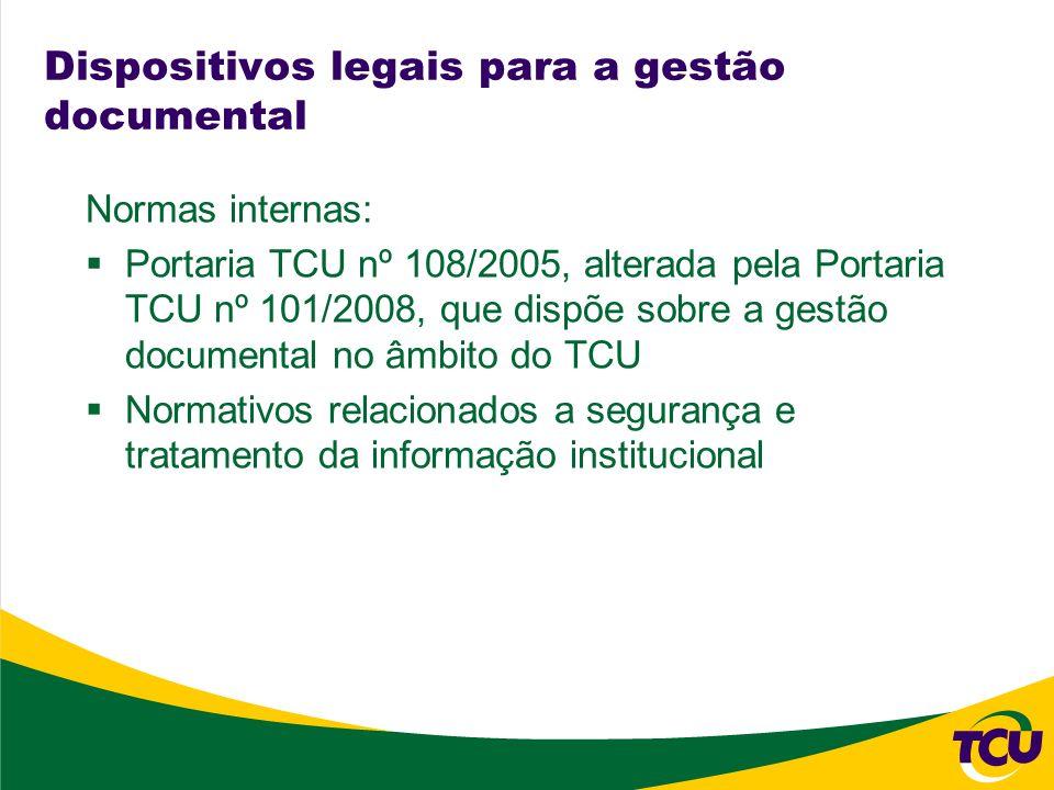 Dispositivos legais para a gestão documental Normas internas: Portaria TCU nº 108/2005, alterada pela Portaria TCU nº 101/2008, que dispõe sobre a ges