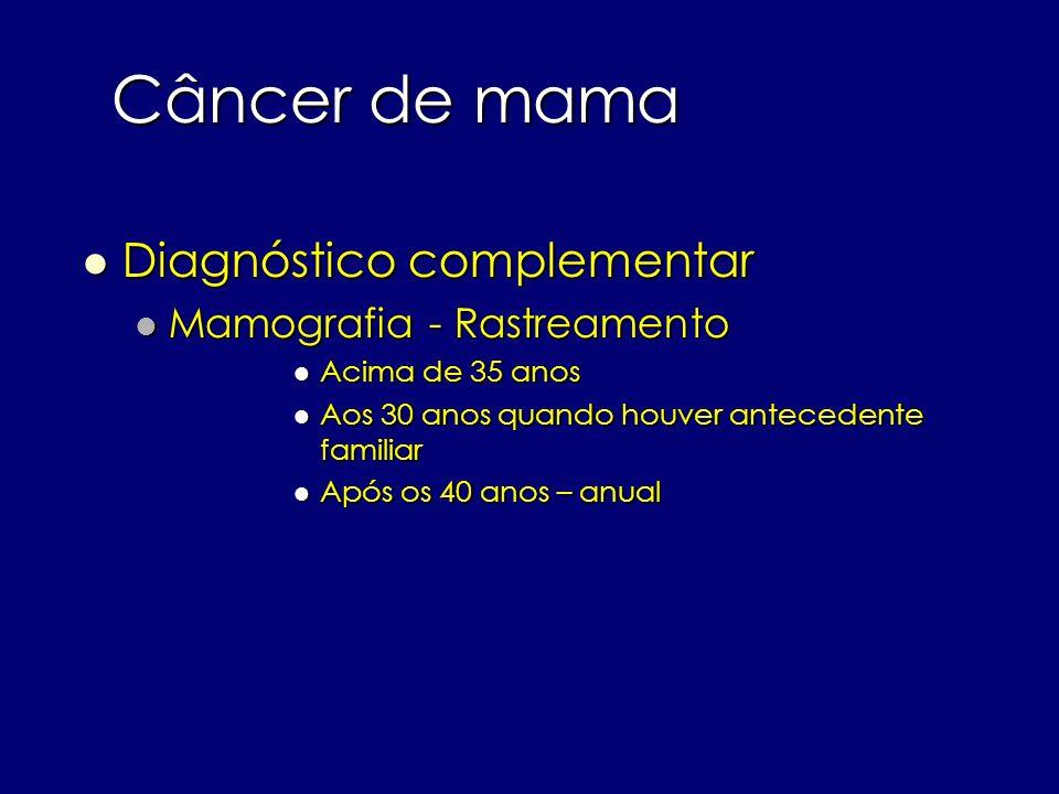 Câncer de mama Diagnóstico complementar Diagnóstico complementar Mamografia - Rastreamento Mamografia - Rastreamento Acima de 35 anos Acima de 35 anos
