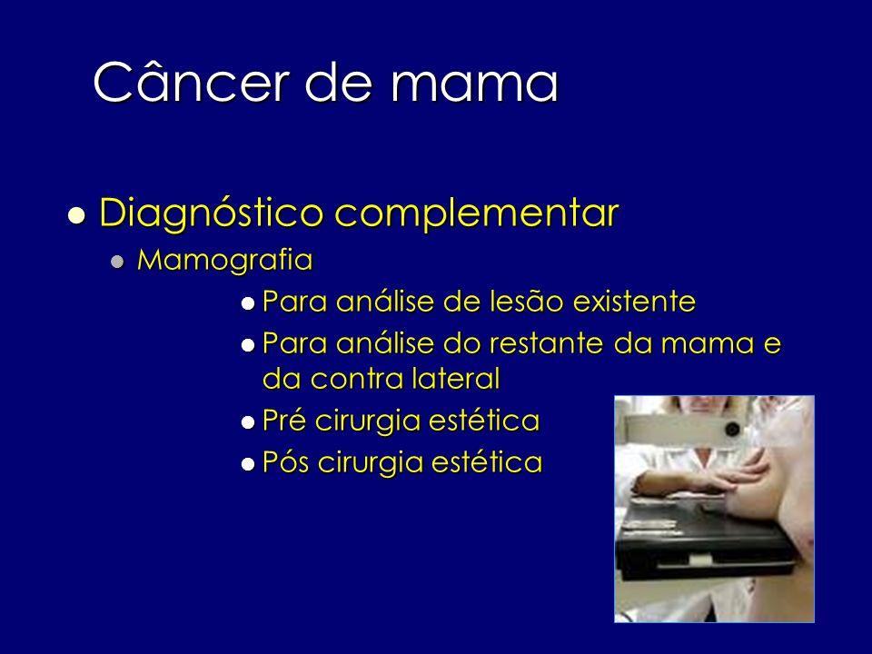 Câncer de mama Diagnóstico complementar Diagnóstico complementar Mamografia Mamografia Para análise de lesão existente Para análise de lesão existente