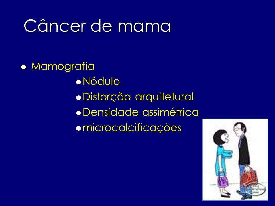 Câncer de mama Mamografia Mamografia Nódulo Nódulo Distorção arquitetural Distorção arquitetural Densidade assimétrica Densidade assimétrica microcalc