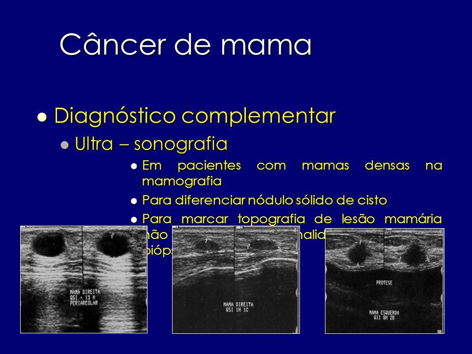 Câncer de mama Diagnóstico complementar Diagnóstico complementar Ultra – sonografia Ultra – sonografia Em pacientes com mamas densas na mamografia Em