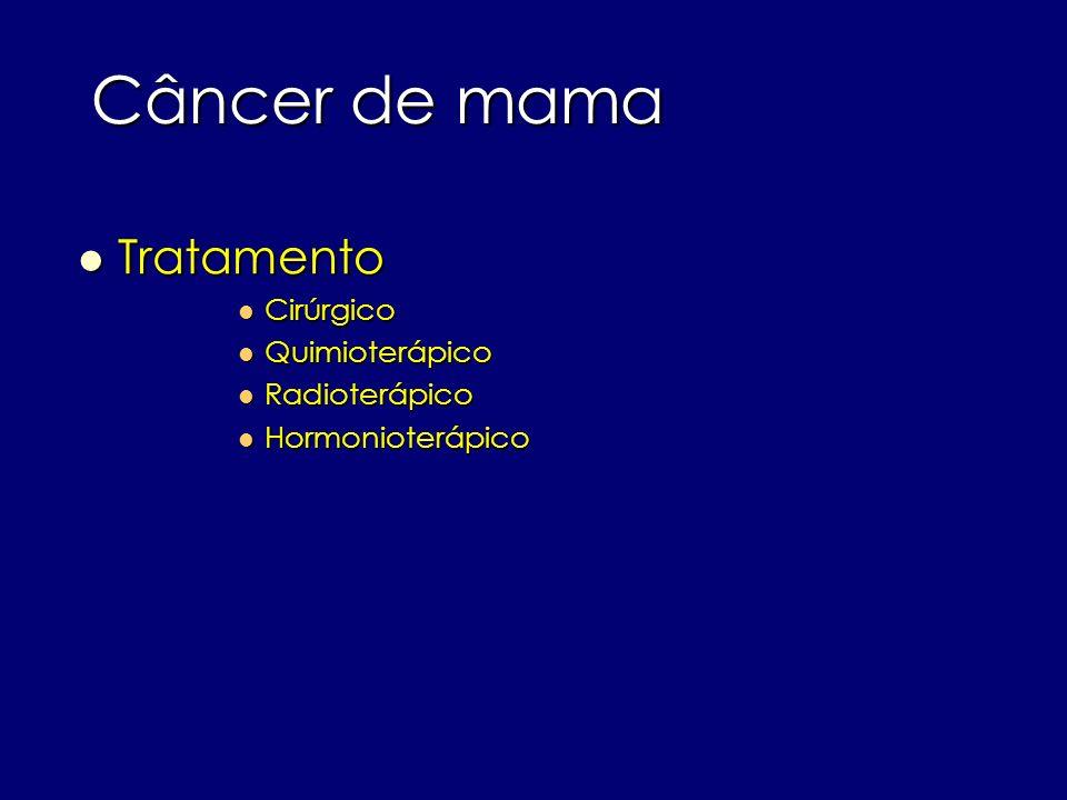 Câncer de mama Tratamento Tratamento Cirúrgico Cirúrgico Quimioterápico Quimioterápico Radioterápico Radioterápico Hormonioterápico Hormonioterápico