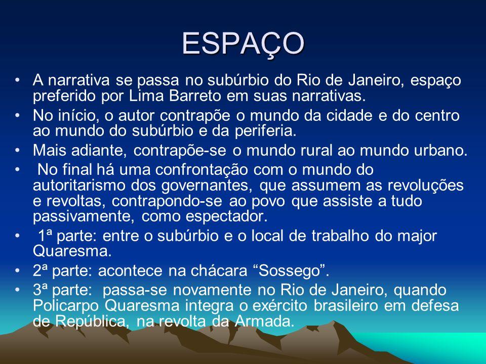 ESPAÇO A narrativa se passa no subúrbio do Rio de Janeiro, espaço preferido por Lima Barreto em suas narrativas. No início, o autor contrapõe o mundo