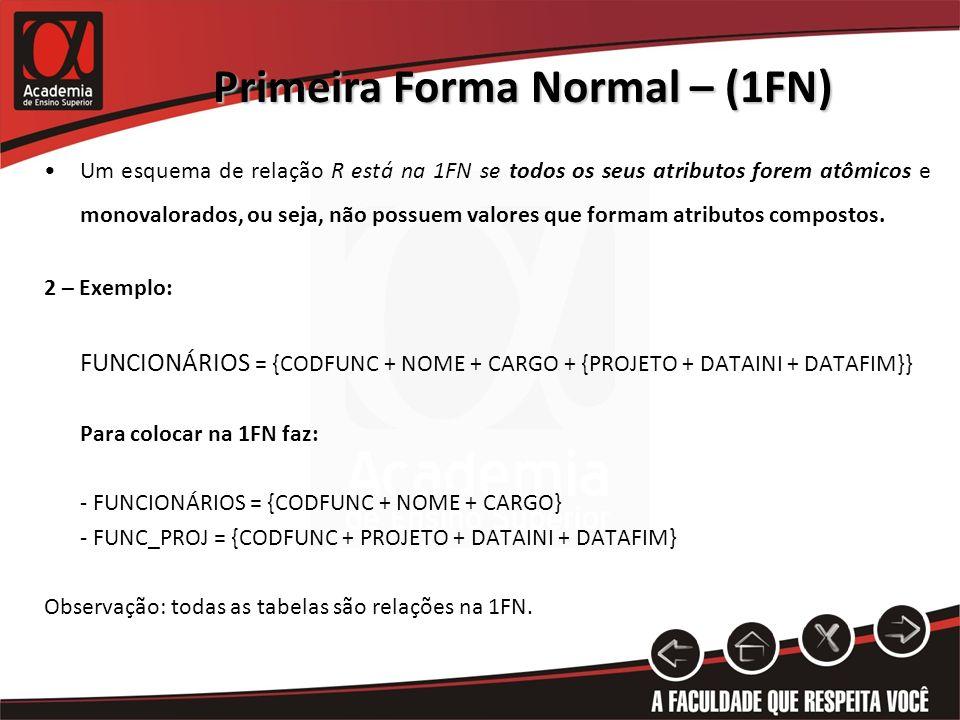 Primeira Forma Normal – (1FN) Um esquema de relação R está na 1FN se todos os seus atributos forem atômicos e monovalorados, ou seja, não possuem valo