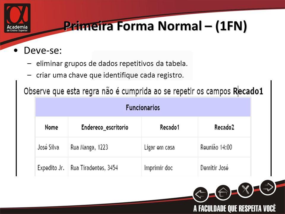 Primeira Forma Normal – (1FN) Deve-se: –eliminar grupos de dados repetitivos da tabela. –criar uma chave que identifique cada registro.