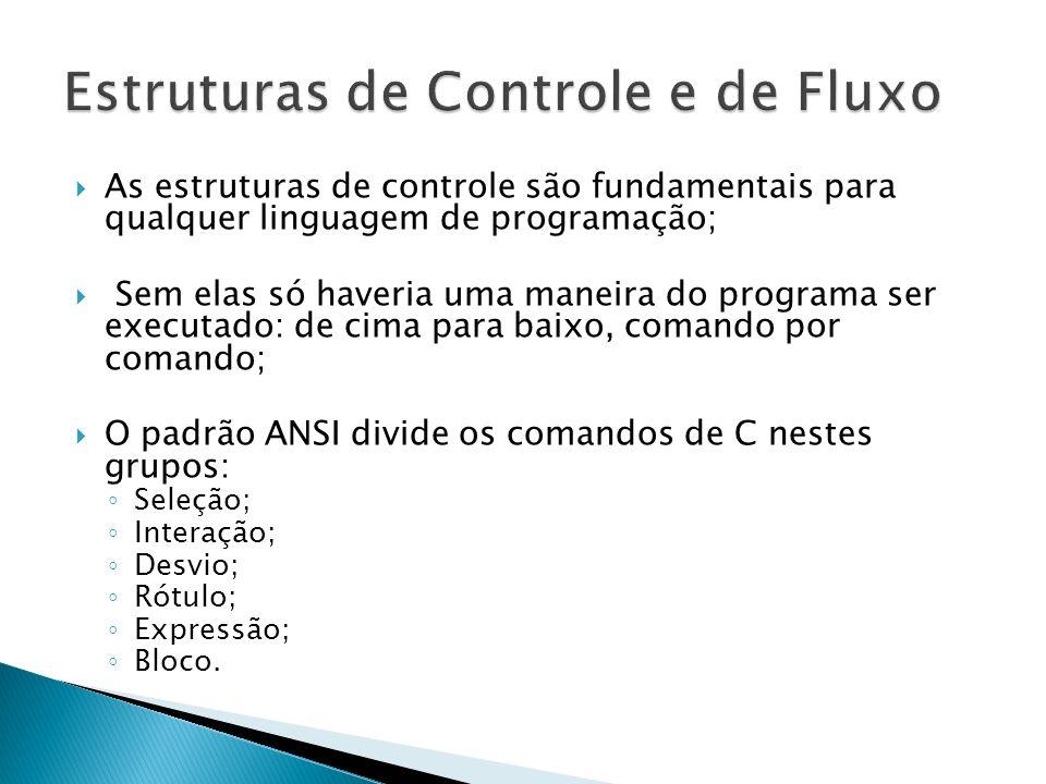 As estruturas de controle são fundamentais para qualquer linguagem de programação; Sem elas só haveria uma maneira do programa ser executado: de cima
