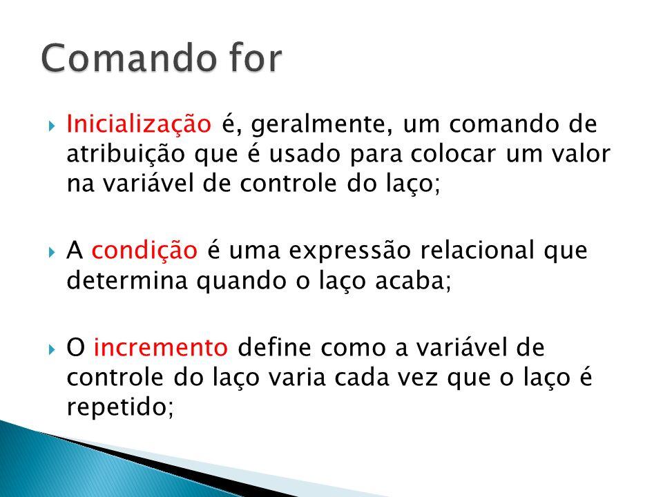 Inicialização é, geralmente, um comando de atribuição que é usado para colocar um valor na variável de controle do laço; A condição é uma expressão re