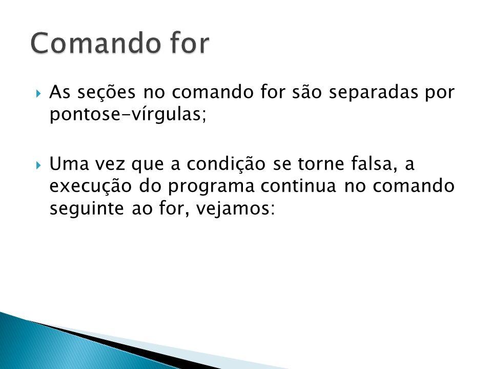 As seções no comando for são separadas por pontose-vírgulas; Uma vez que a condição se torne falsa, a execução do programa continua no comando seguint