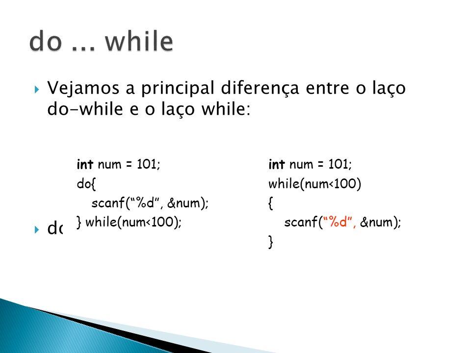Vejamos a principal diferença entre o laço do-while e o laço while: do-while executa pelo menos uma vez.