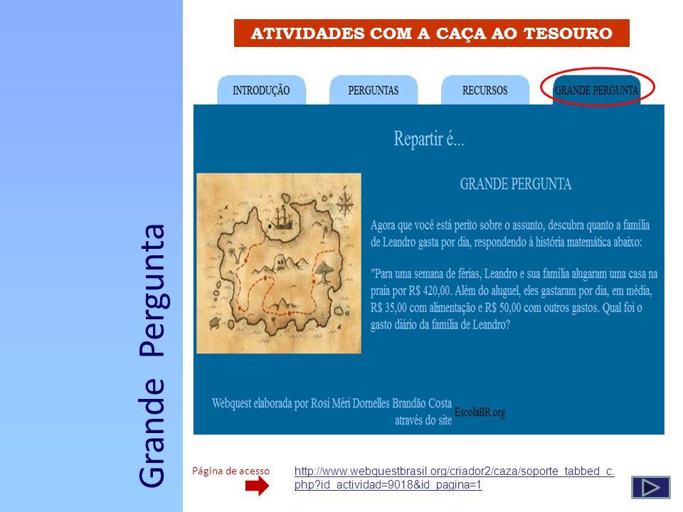 ATIVIDADES COM A CAÇA AO TESOURO Grande Pergunta http://www.webquestbrasil.org/criador2/caza/soporte_tabbed_c. php?id_actividad=9018&id_pagina=1 Págin