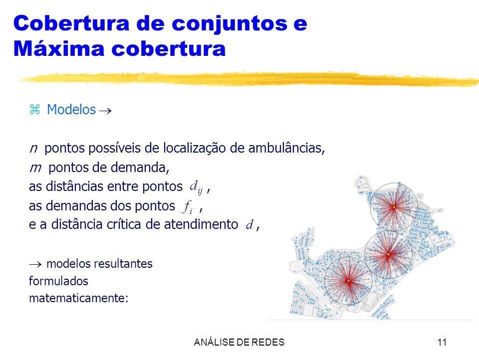 ANÁLISE DE REDES11 Cobertura de conjuntos e Máxima cobertura zModelos n pontos possíveis de localização de ambulâncias, m pontos de demanda, as distân