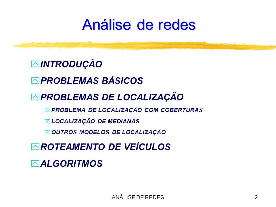 ANÁLISE DE REDES3 Análise de redes zAnálise espacial várias aplicações identificadas em redes zAs redes são entidades formadas por pontos (nós ou vértices) e linhas (arcos ou arestas) que descrevem de maneira natural vias públicas, conexões de água, telefonia, e outros.