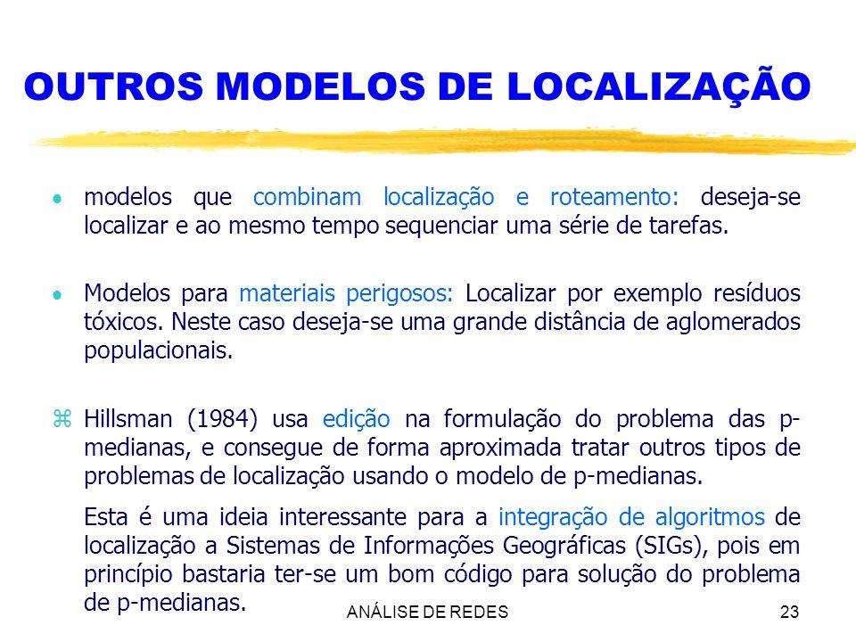 ANÁLISE DE REDES23 OUTROS MODELOS DE LOCALIZAÇÃO modelos que combinam localização e roteamento: deseja-se localizar e ao mesmo tempo sequenciar uma sé