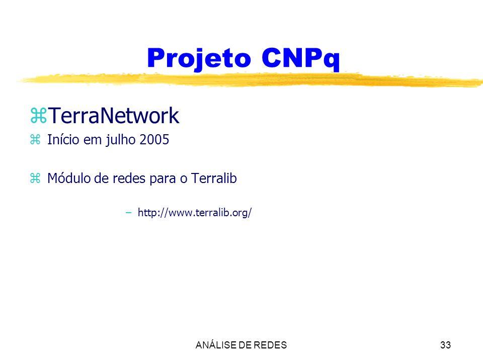 ANÁLISE DE REDES33 Projeto CNPq zTerraNetwork zInício em julho 2005 zMódulo de redes para o Terralib –http://www.terralib.org/