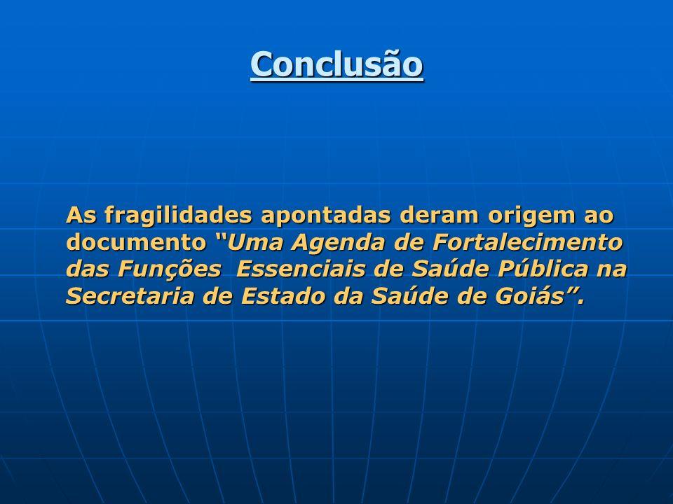 Conclusão As fragilidades apontadas deram origem ao documento Uma Agenda de Fortalecimento das Funções Essenciais de Saúde Pública na Secretaria de Es