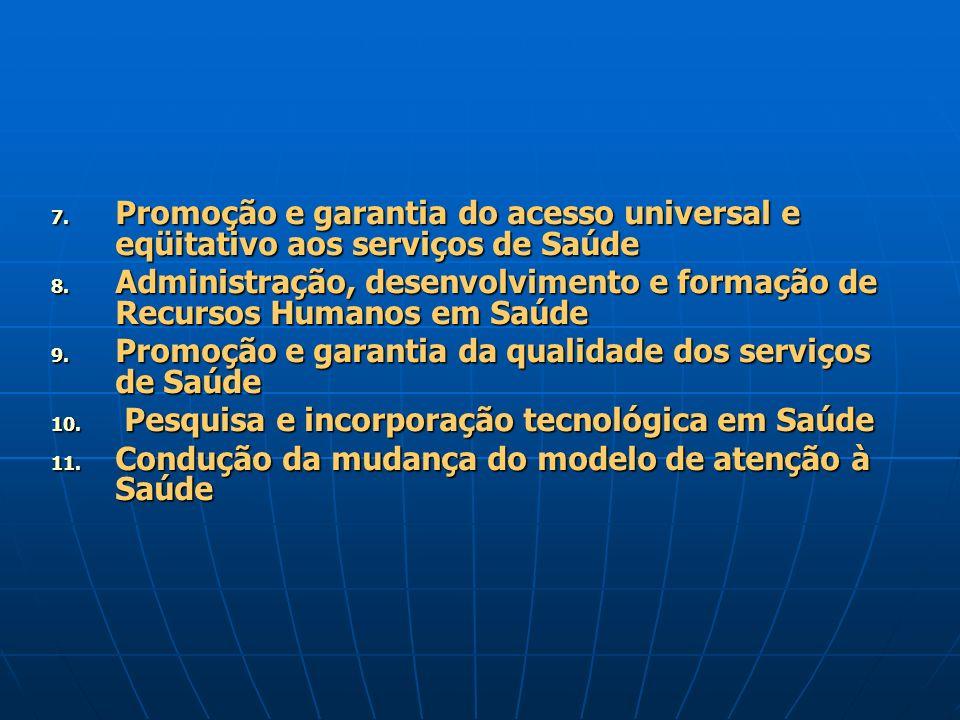7. Promoção e garantia do acesso universal e eqüitativo aos serviços de Saúde 8. Administração, desenvolvimento e formação de Recursos Humanos em Saúd