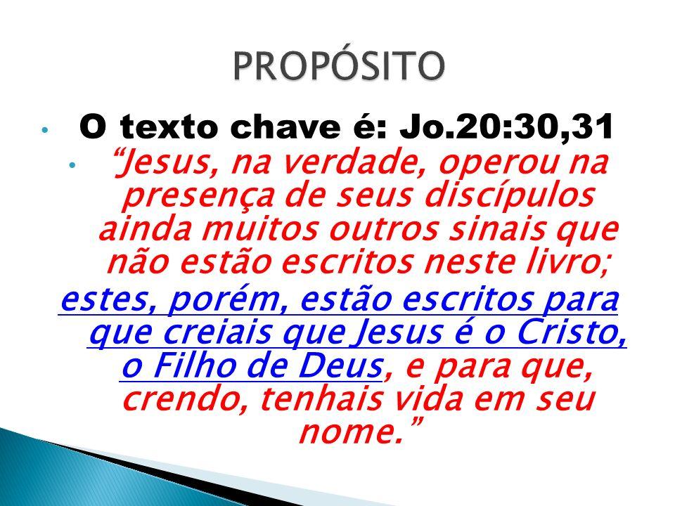 O texto chave é: Jo.20:30,31 Jesus, na verdade, operou na presença de seus discípulos ainda muitos outros sinais que não estão escritos neste livro; e