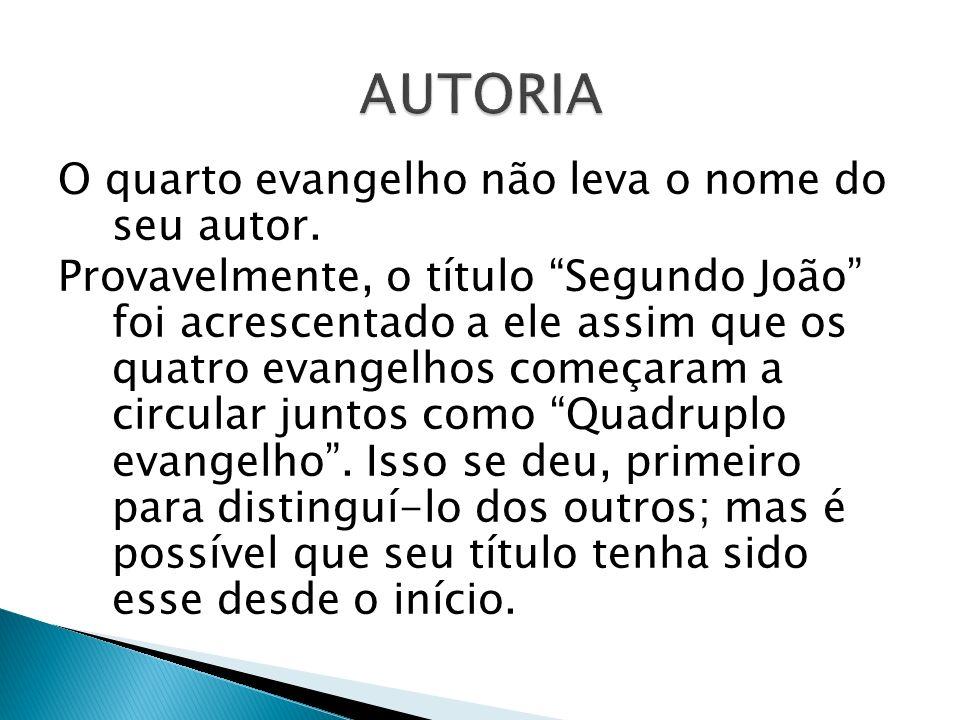 O quarto evangelho não leva o nome do seu autor. Provavelmente, o título Segundo João foi acrescentado a ele assim que os quatro evangelhos começaram