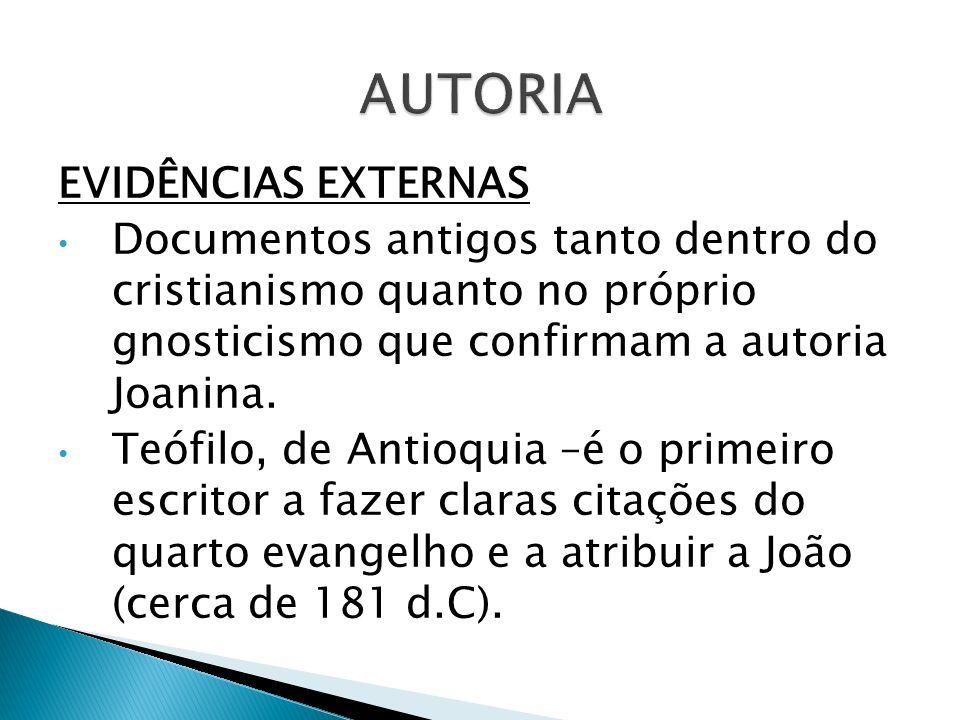 EVIDÊNCIAS EXTERNAS Documentos antigos tanto dentro do cristianismo quanto no próprio gnosticismo que confirmam a autoria Joanina. Teófilo, de Antioqu