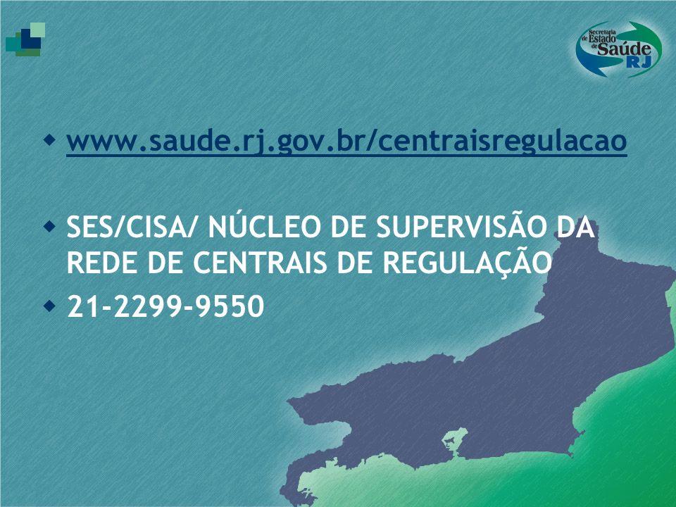 www.saude.rj.gov.br/centraisregulacao SES/CISA/ NÚCLEO DE SUPERVISÃO DA REDE DE CENTRAIS DE REGULAÇÃO 21-2299-9550