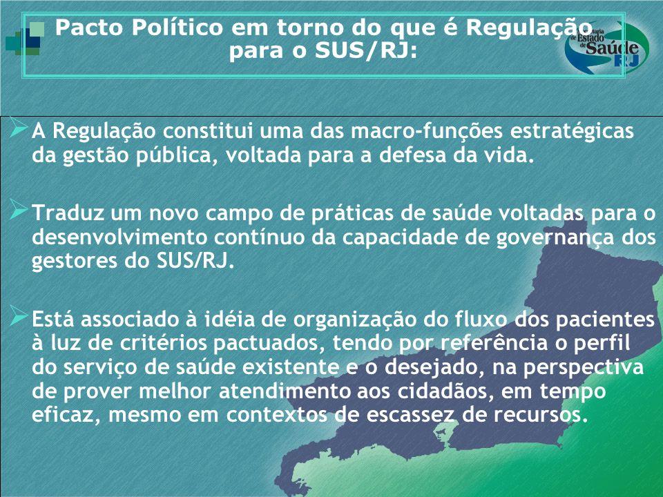 Pacto Político em torno do que é Regulação para o SUS/RJ: A Regulação constitui uma das macro-funções estratégicas da gestão pública, voltada para a d
