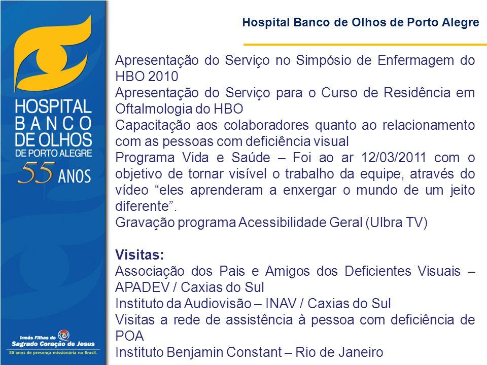 Hospital Banco de Olhos de Porto Alegre Apresentação do Serviço no Simpósio de Enfermagem do HBO 2010 Apresentação do Serviço para o Curso de Residênc
