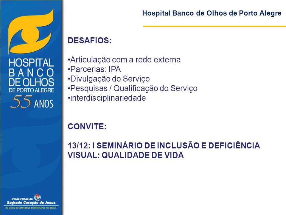 Hospital Banco de Olhos de Porto Alegre DESAFIOS: Articulação com a rede externa Parcerias: IPA Divulgação do Serviço Pesquisas / Qualificação do Serv