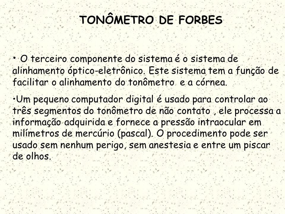 TONÔMETRO DE FORBES A D A luz refletida da córnea passa através da abertura A e é sentida pelo detector D. No caso de uma córnea no estado normal pouc