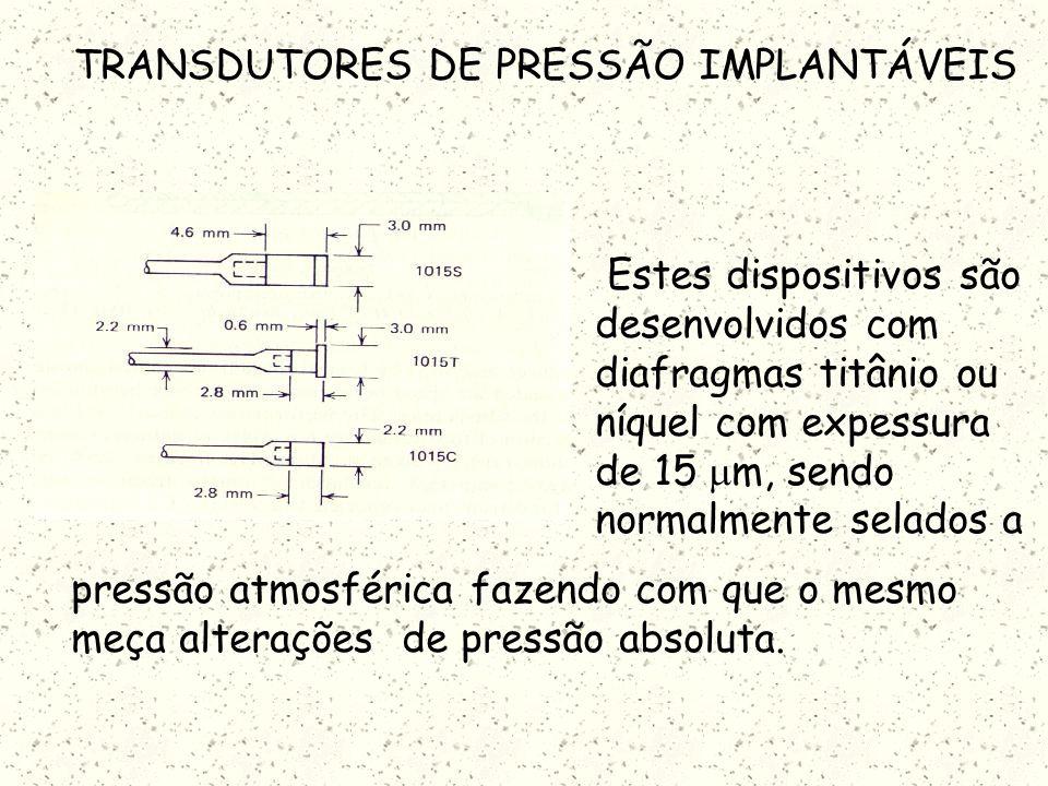 TRANSDUTORES DE PRESSÃO IMPLANTÁVEIS Um grande números de transdutores de pressão miniaturizados foi desenvolvido para implantes a longo termo em anim