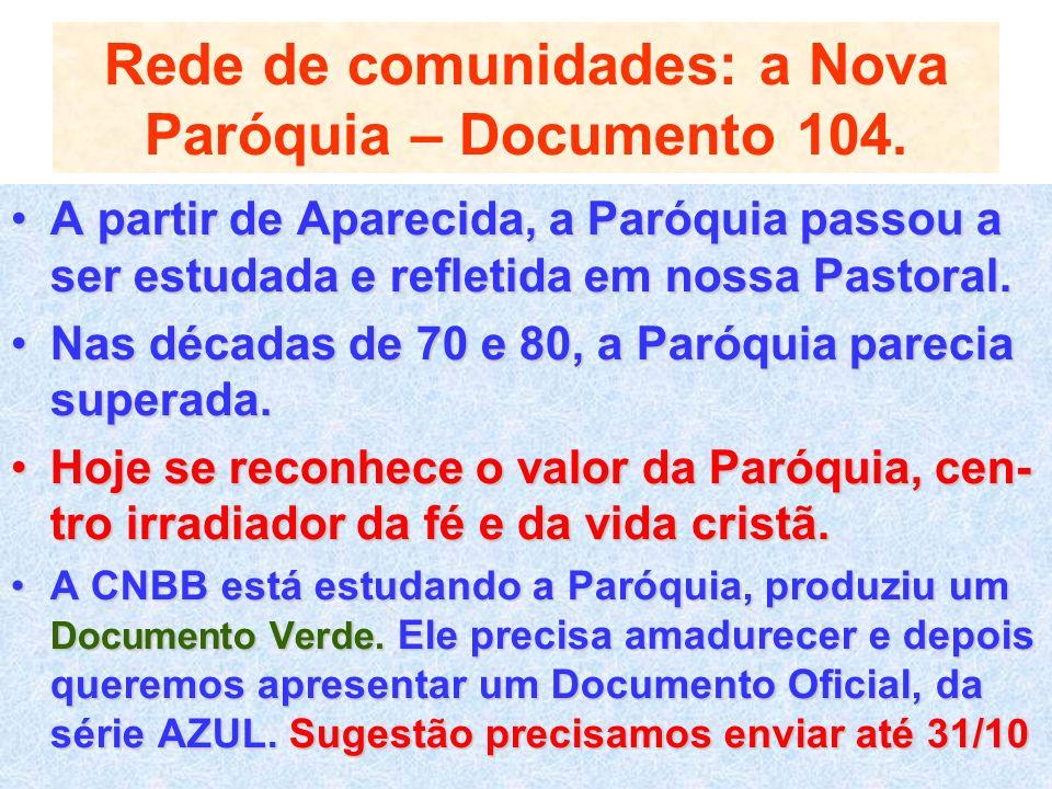 Rede de comunidades: a Nova Paróquia – Documento 104. A partir de Aparecida, a Paróquia passou a ser estudada e refletida em nossa Pastoral.A partir d