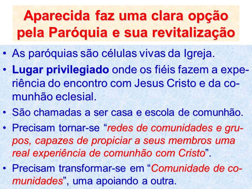 Aparecida faz uma clara opção pela Paróquia e sua revitalização As paróquias são células vivas da Igreja.As paróquias são células vivas da Igreja. Lug