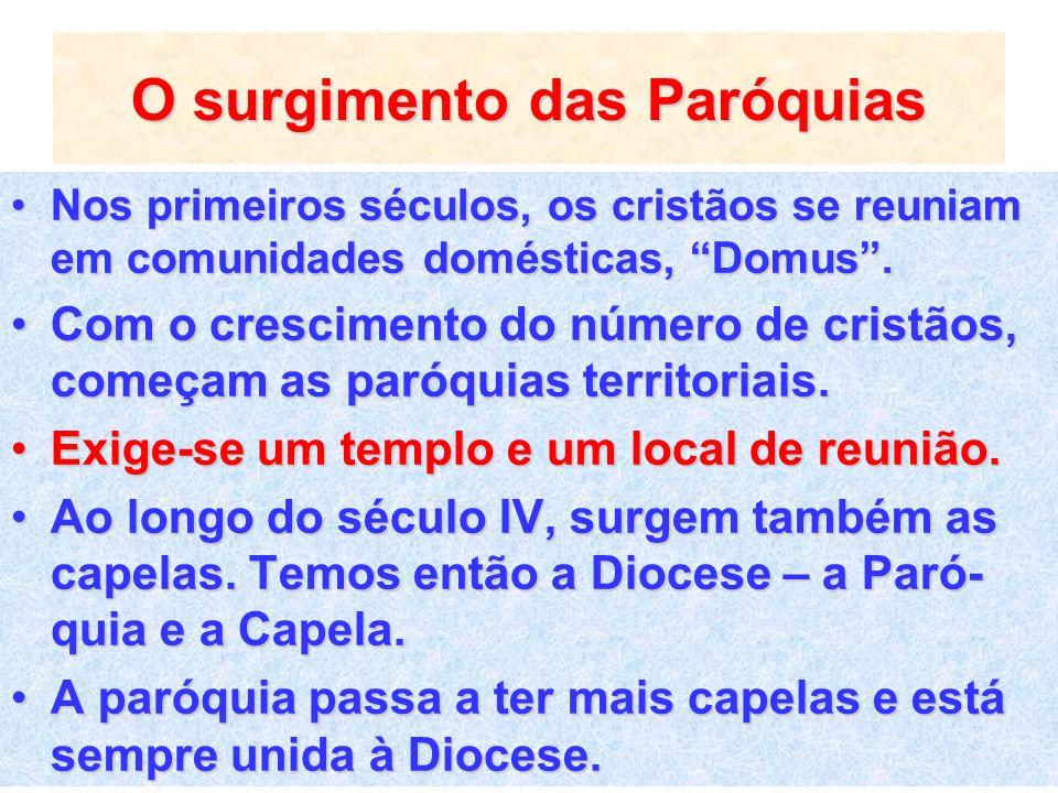 O surgimento das Paróquias Nos primeiros séculos, os cristãos se reuniam em comunidades domésticas, Domus.Nos primeiros séculos, os cristãos se reunia