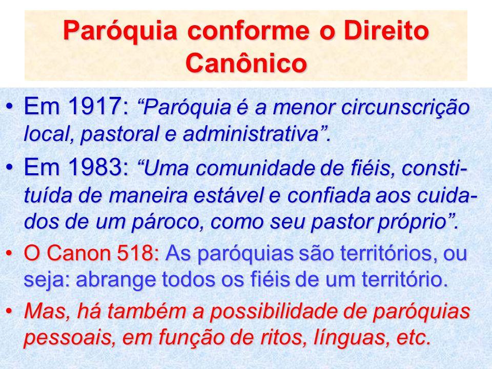 Paróquia conforme o Direito Canônico Em 1917: Paróquia é a menor circunscrição local, pastoral e administrativa.Em 1917: Paróquia é a menor circunscri