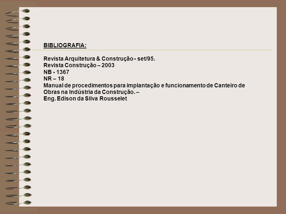 BIBLIOGRAFIA: Revista Arquitetura & Construção - set/95. Revista Construção – 2003 NB - 1367 NR – 18 Manual de procedimentos para implantação e funcio