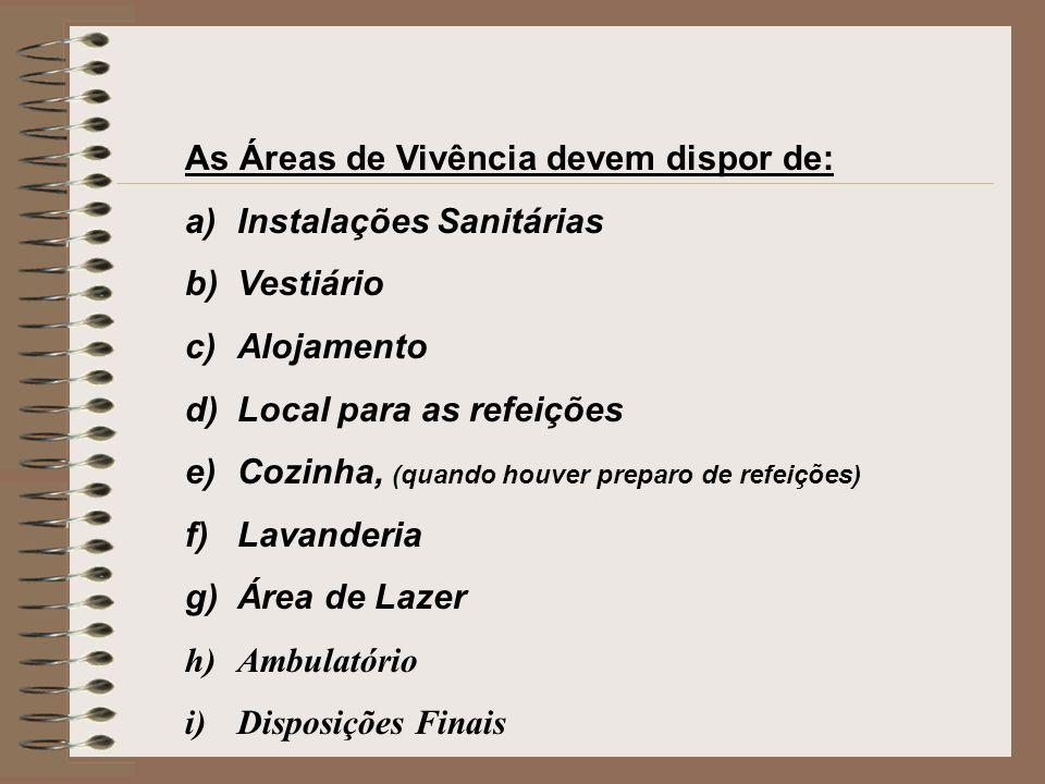As Áreas de Vivência devem dispor de: a)Instalações Sanitárias b)Vestiário c)Alojamento d)Local para as refeições e)Cozinha, (quando houver preparo de