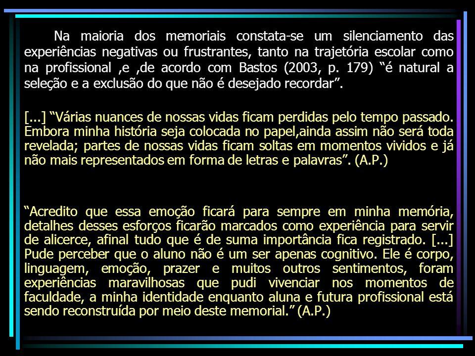 Na maioria dos memoriais constata-se um silenciamento das experiências negativas ou frustrantes, tanto na trajetória escolar como na profissional,e,de acordo com Bastos (2003, p.