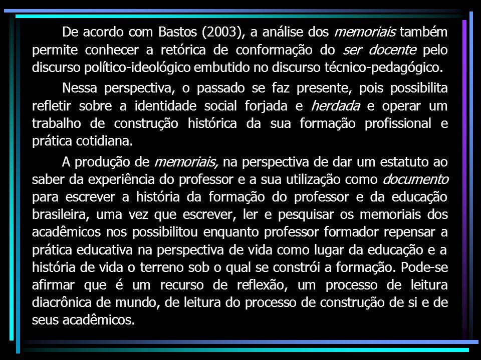 De acordo com Bastos (2003), a análise dos memoriais também permite conhecer a retórica de conformação do ser docente pelo discurso político-ideológico embutido no discurso técnico-pedagógico.