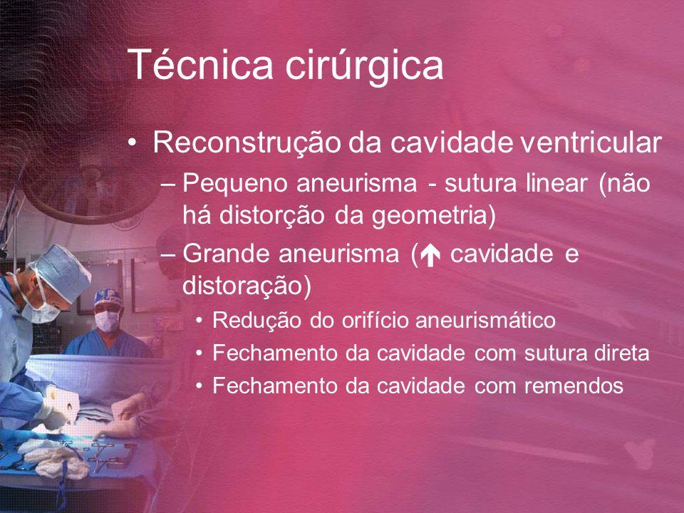 Técnica cirúrgica Reconstrução da cavidade ventricular –Pequeno aneurisma - sutura linear (não há distorção da geometria) –Grande aneurisma ( cavidade