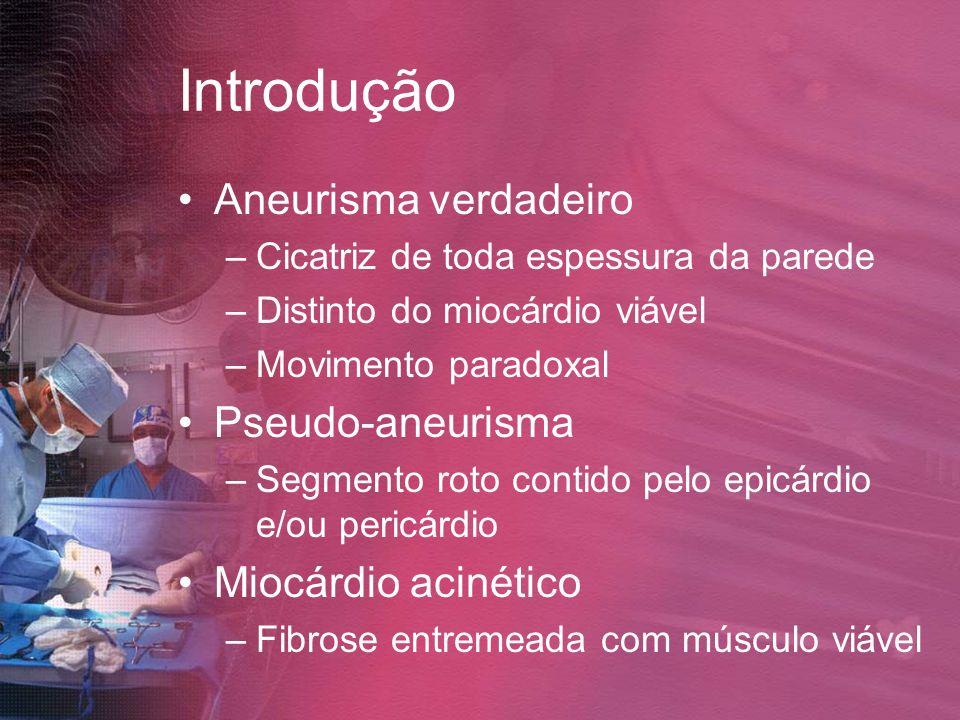 Introdução Aneurisma verdadeiro –Cicatriz de toda espessura da parede –Distinto do miocárdio viável –Movimento paradoxal Pseudo-aneurisma –Segmento ro