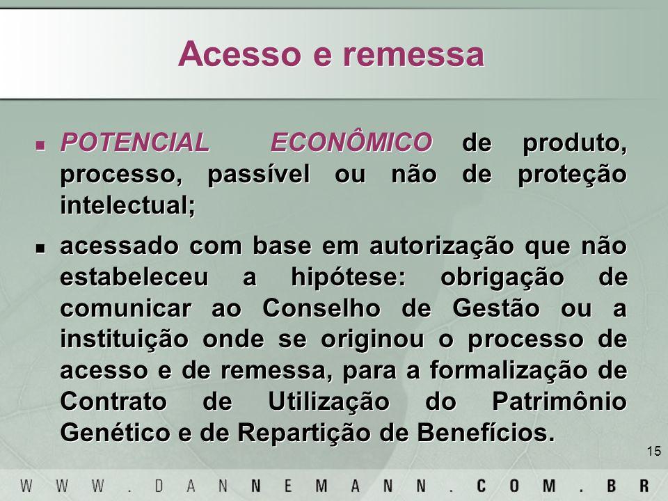 15 Acesso e remessa POTENCIAL ECONÔMICO de produto, processo, passível ou não de proteção intelectual; acessado com base em autorização que não estabe