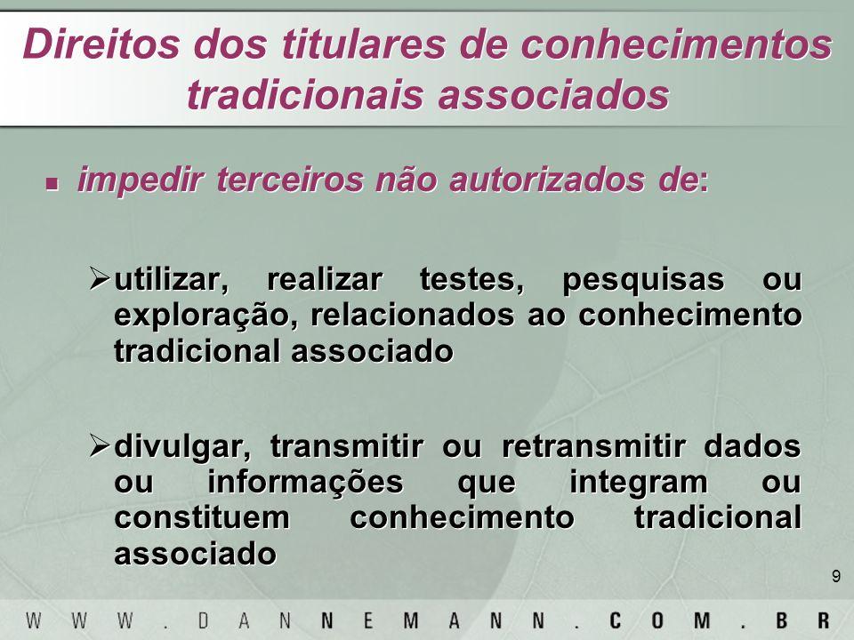 9 Direitos dos titulares de conhecimentos tradicionais associados impedir terceiros não autorizados de: utilizar, realizar testes, pesquisas ou explor