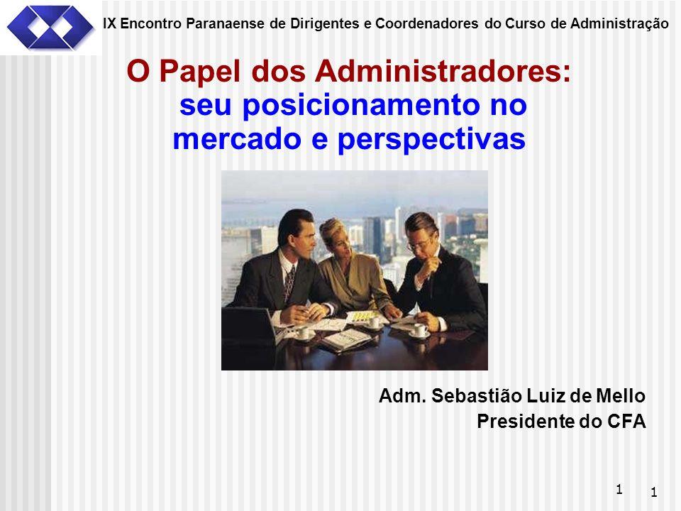 1 1 O Papel dos Administradores: seu posicionamento no mercado e perspectivas Adm. Sebastião Luiz de Mello Presidente do CFA IX Encontro Paranaense de